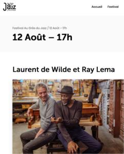 Ray Lema & Laurent de Wilde au Festival «Au Grès du Jazz»- Petite Pierre
